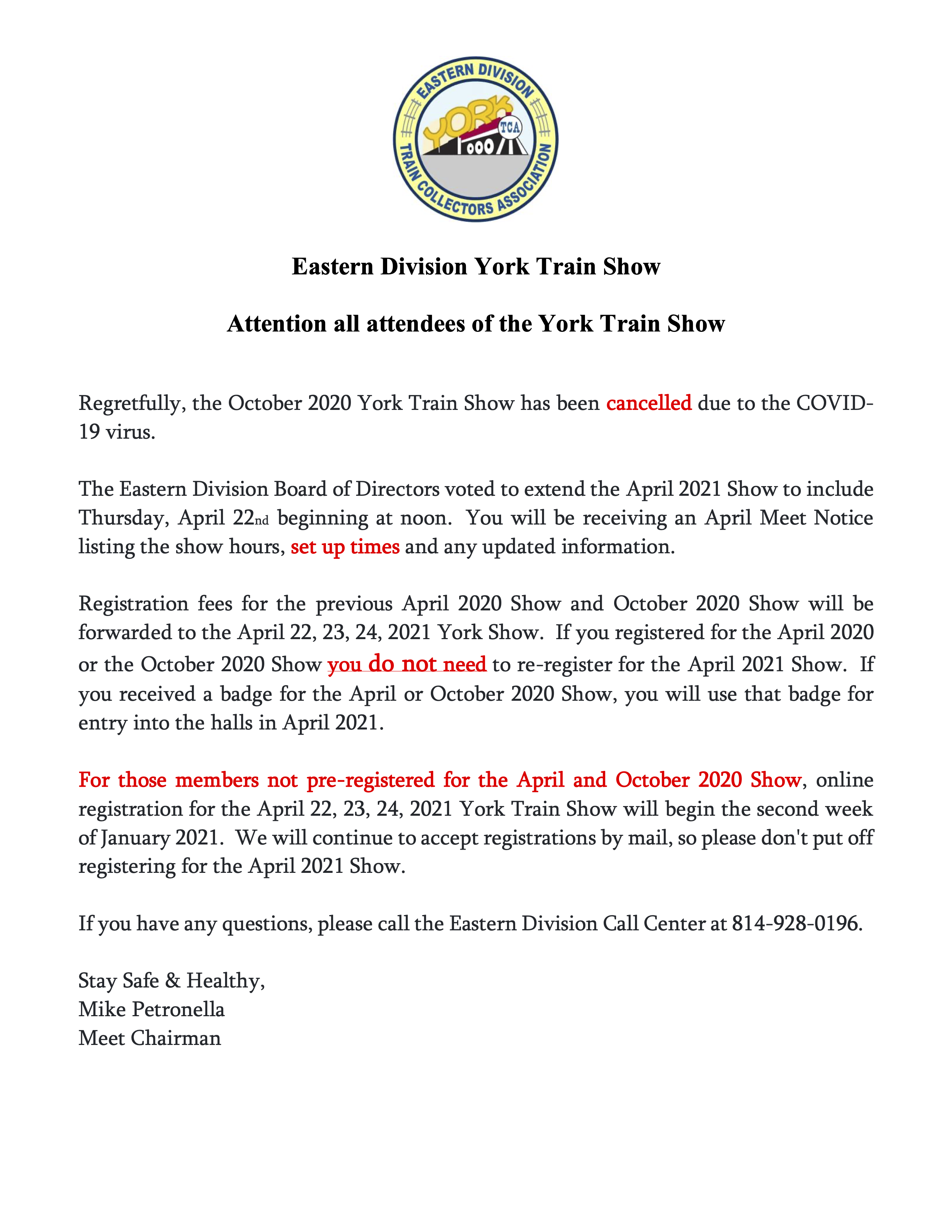 Eastern Division York Train Show Update